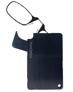 The ThinOptics Wallet is a revolutionary advancement in the consolidation of your essentials, bringing together your credit cards, cash, identification, and reading glasses in a durable and compact case that'll go everywhere with you.