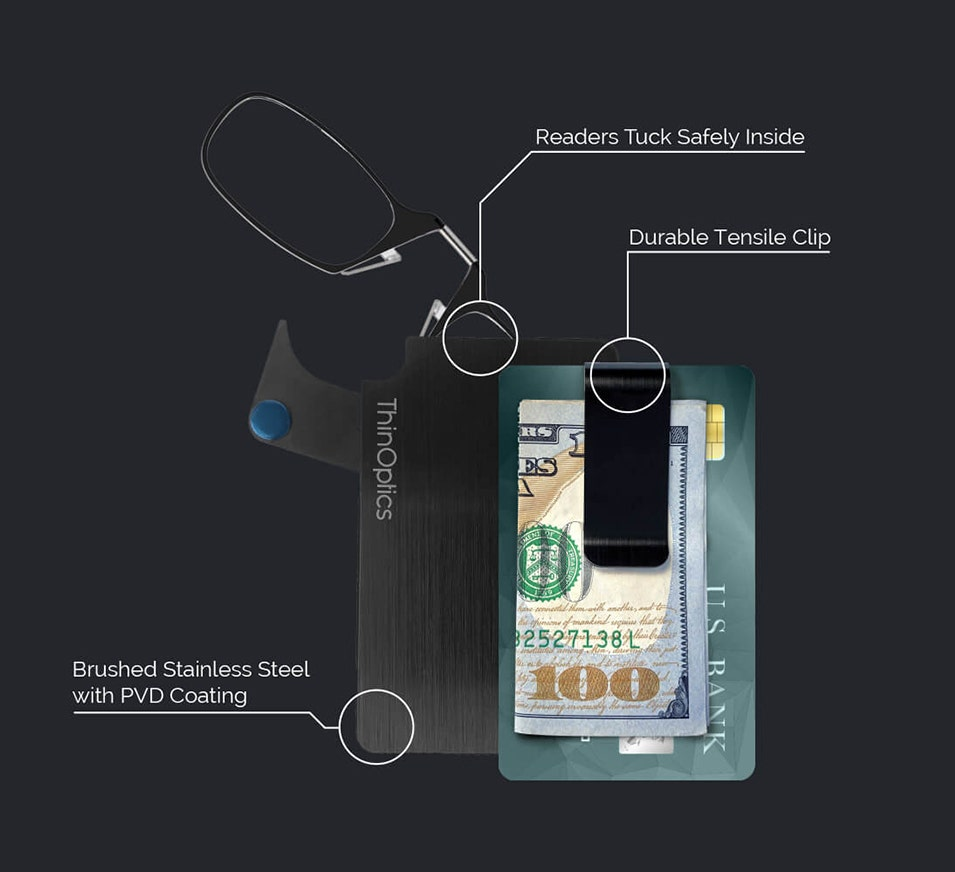 Introducing the latest innovation in Always With You technology The ThinOptics Wallet is a revolutionary advancement in the consolidation of your essentials, bringing together your credit cards, cash, identification, and reading glasses in a durable and c
